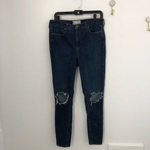 Free People High Rise Busted Knee Skinny Sz 29